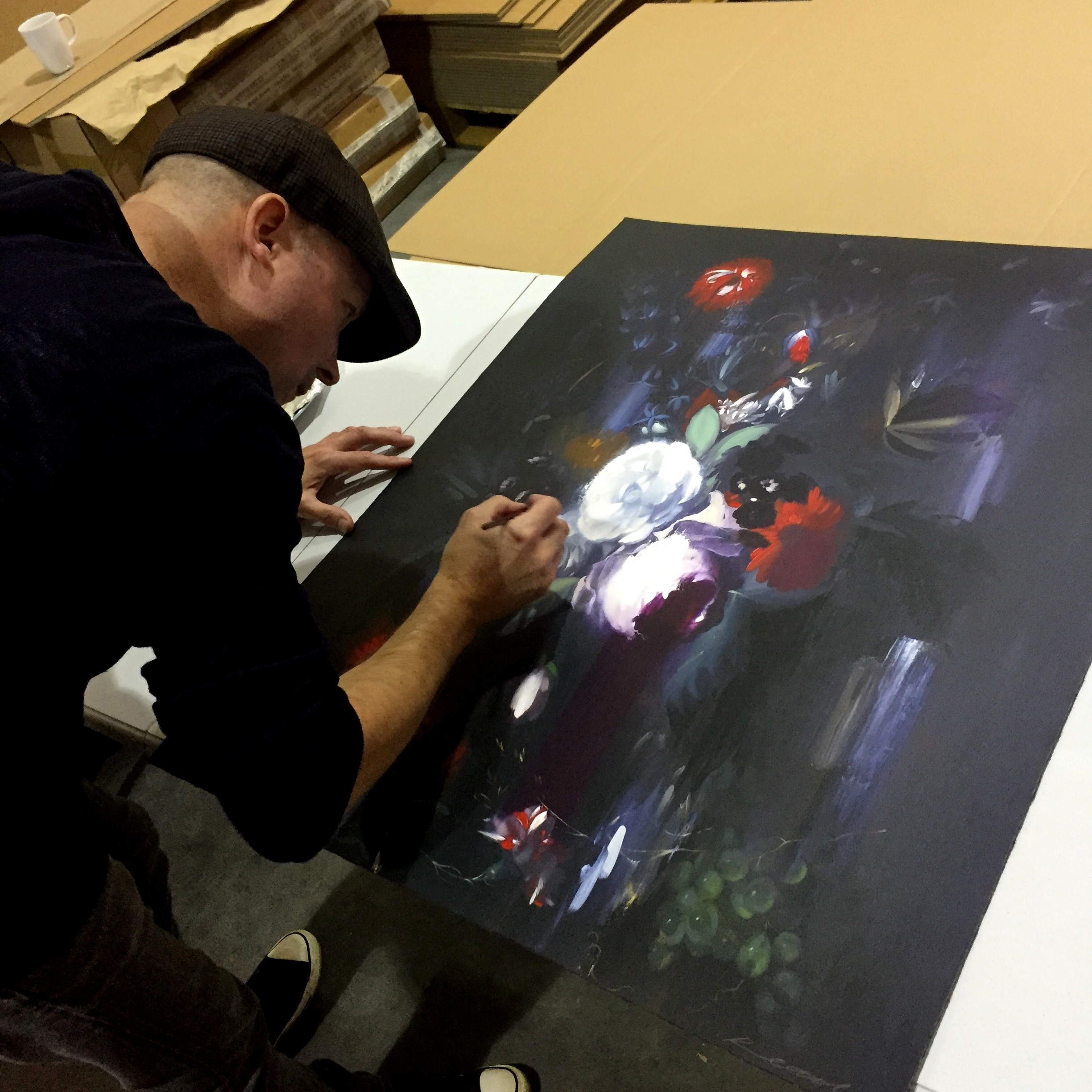 Chris Kettle Hand-Finishing Brand New Prints At Art Republic HQ In Hove